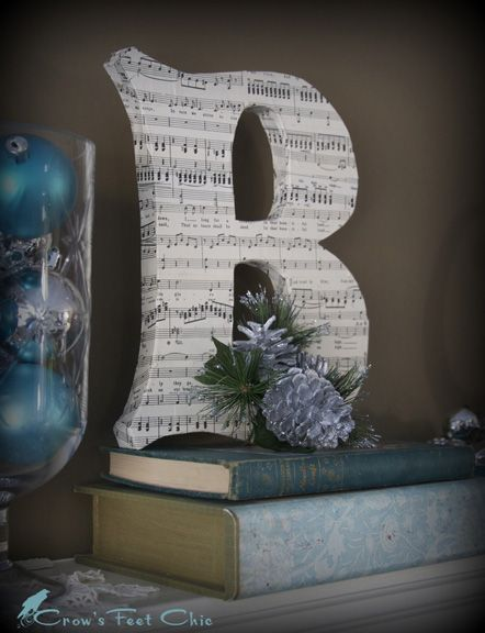 craft store paper letter - covered in sheet music, magazine/book pages, newspaper, photos, or wrapped in yarn