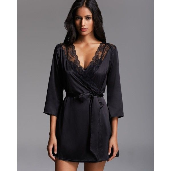 L'Agent by Agent Provocateur Marisela Robe ($198) ❤ liked on Polyvore featuring intimates, robes, pijamas, black, satin robe, satin dressing gown, black robe, dressing gown and black bath robe