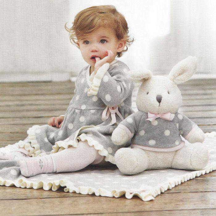 Elegant Baby Grey Cotton Knit Dress with Pink Legging ~ FALL SALE ~