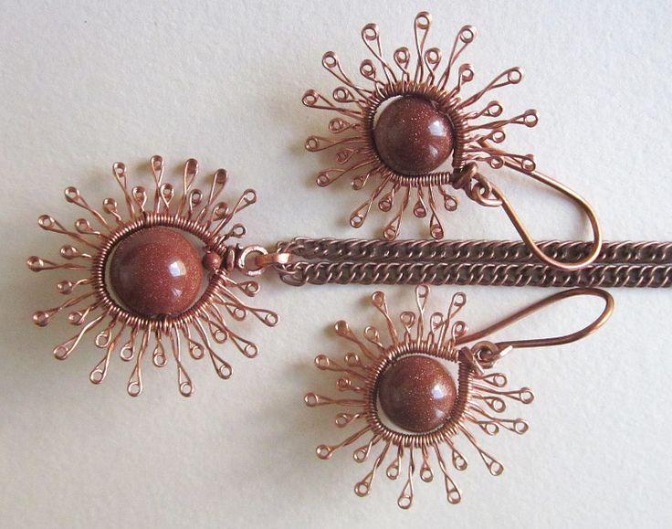 Earrings and pendant with goldstone by eyebrightart.deviantart.com on @DeviantArt