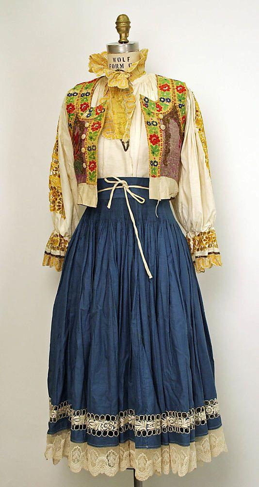 20th century Eastern European cotton and silk ensemble