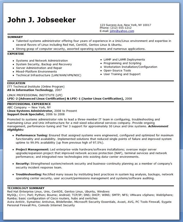 sample systems administrator resume experienced - Unix Sys Administration Sample Resume