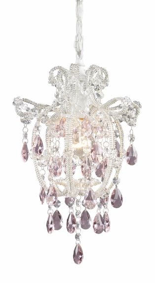 Elise Pendant in Antique White with Pink Crystals