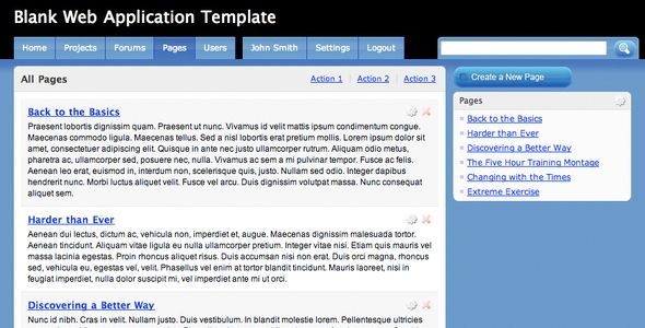 Blank Web Application Template    http://themeforest.net/item/blank-web-application-template-/19474?ref=damiamio       The most common and popular format seen in web applications today features a fluid layout with two column and tabular navigation. I've taken out all the hard work for the developers, by building this cross-browser compatible template so they can forget about graphics and start focusing on coding.     Created: 10October08 LastUpdate: 10October08 CompatibleBrowsers: Firefox…