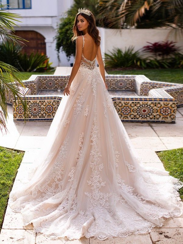 Full Lace A Line Wedding Gown Moonlight Couture H1397 Wedding Dress Couture Wedding Dresses Lace Wedding Dresses