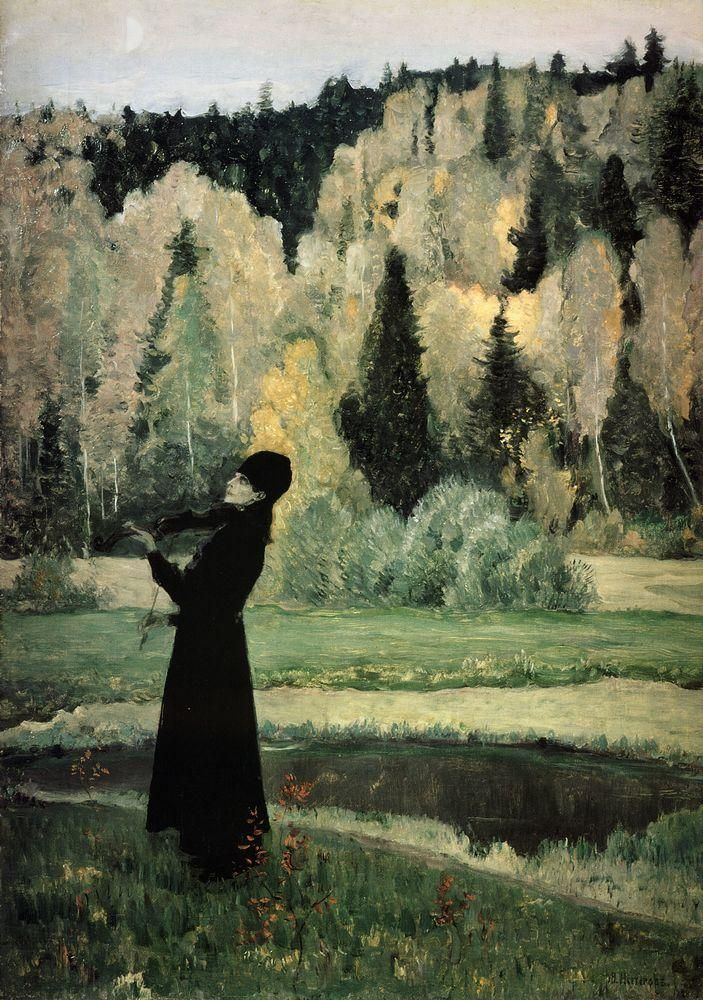 Михаил Васильевич Нестеров » Картины, живопись » Элегия (Слепой музыкант). 1928