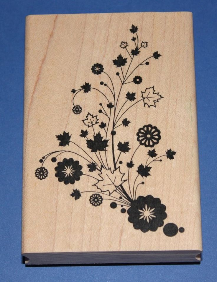 NEW Inkadinkado  Autumn Floral Trail  Wooden Backed Rubber Stamp 98703P
