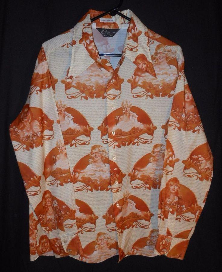 Vtg. 70's Playboy Poly Shirt Dreams Of Vargas Girls Chemise Et Cie Disco XL #CHEMISEETCIE #CASUAL