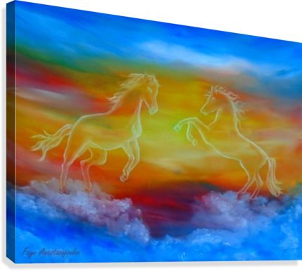 Fine Art, for sale, online, oil painting,  contemporary, figurative, modern, whimsical, magical,  imaginary, surrealism, fantasy, colorful, blue, sky scene, clouds, horses, wild, animals, wildlife, equine, equestrian, sunset, cloudwalkers, above the colouds, jumping, surreal, atmospheric, theme,  beautiful, nostalgic, poetic, art prints, artwork
