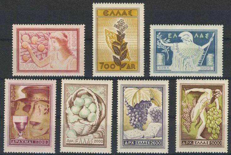 Greece (Kingdom 1935 to 1967), Griechenland 1953, Landesprodukte, postfrisch Pracht (postfr., Mi.-Nr.596-602/Mi.EUR 100,--). Price Estimate (8/2016): 25 EUR.