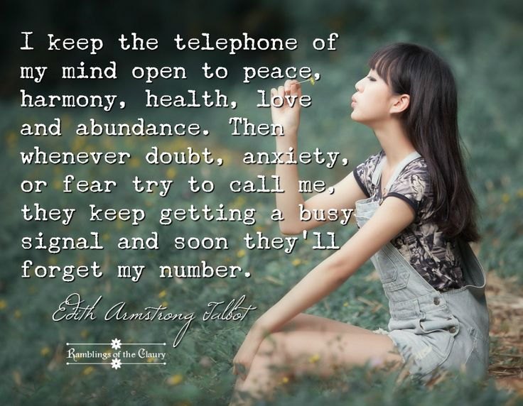 I keep the telephone of my mind open to peace, harmony, health, love and abundance. Then whenever doubt, anxiety, or fear try to call me, they keep getting a busy signal and soon they'll forget my number. #peace #positivity #attitude #mindfulness #health #wellness #harmony #abundance