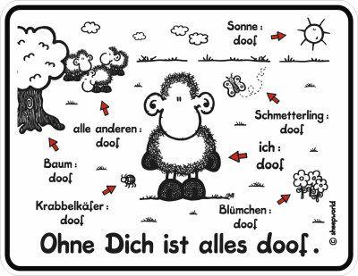 Ohne dich ist alles doof sheepworld - for cross stitch (Schmetterling? DOOF. Heh. X'3)