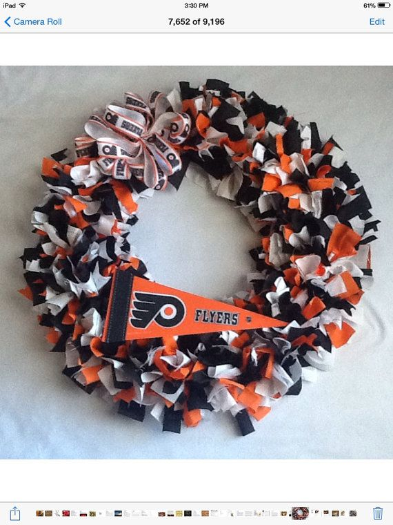 Rag Wreath Philadelphia Flyers Hockey Team 15 or by Nancianne514
