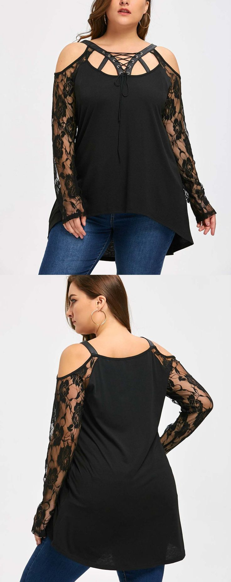 Up to 80% off,Wholesale Halloween Plus Size Cold Shoulder Lace Up . Cheap Plus Size Top And Cold Shoulder Blouse on Rosewholesale.com,lace,cold shoulder,plus size dress,rosewholesale,rosewholesale.com,suppliers,wholesale boutique clothing suppliers,wholesale,black, fall, fall fashion,fall outfits,fall nails,fall decor ideas,fall fashion 2017,plus size fashion for women,chrismas outfit,Christmas Red,christmas dress for women,girls christmas dresses,christmas clothes for women,$11.79