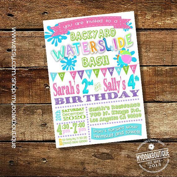 Waterslide Backyard Bash Invitation Birthday Party Water Slide Girl