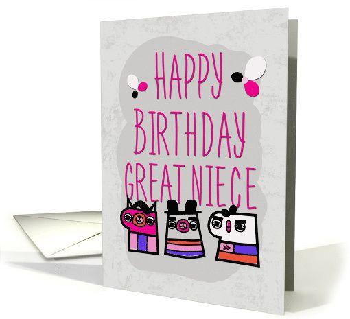 Happy Birthday Great Niece Modern Cartoon Characters Card