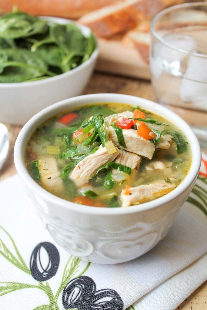 You'll find yourself slurping up every last bit of this delicious Chicken Vegetable Soup with Spinach. This recipe just requires some sautéing and simmering; then you have yourself one delicious meal.