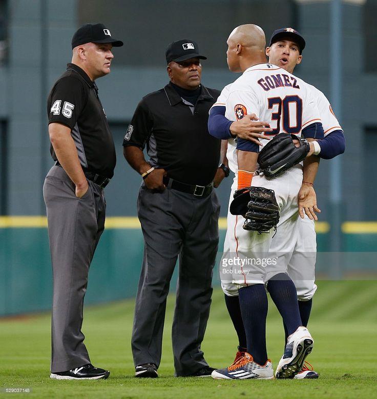 Umpires Jeff Nelson Laz Diaz Carlos Gomez George Springer Hou May 7 2016 George Springer Sports Jersey Baseball