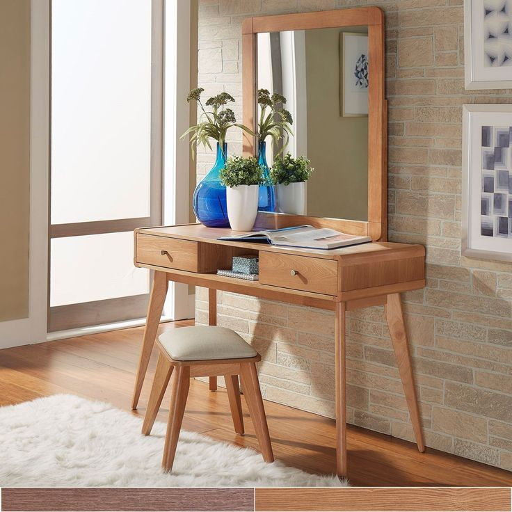MID Century Living Penelope Danish Modern Vanity Console Table (Natural Oak  Table + Mirror