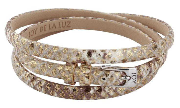 Joy de la Luz | Leather buckle bracelet python gold