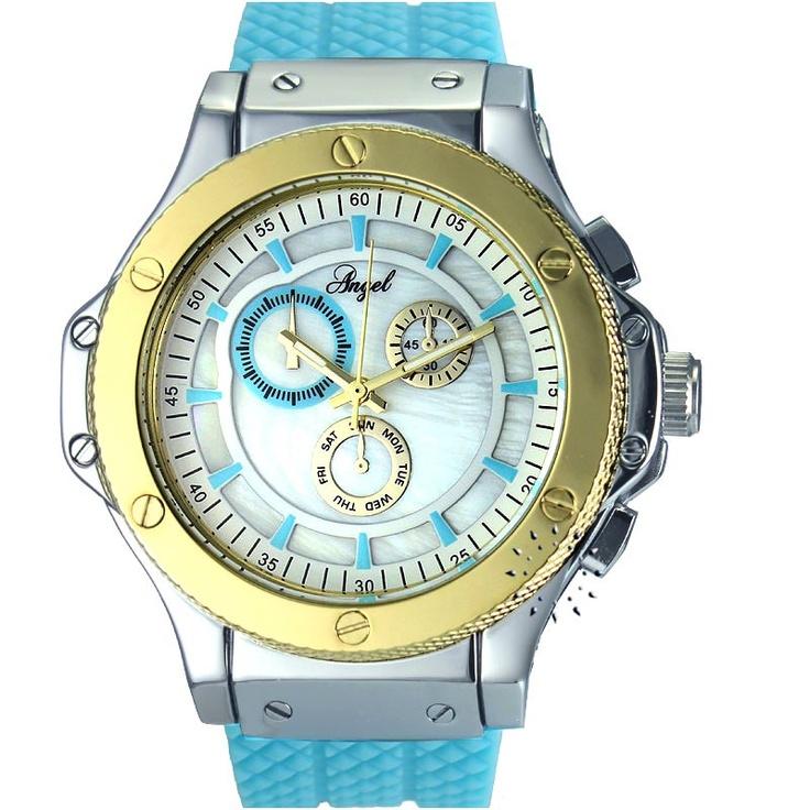 ANGEL Ladies Light Blue Rubber Strap  64€  Αγοράστε το εδώ: http://www.oroloi.gr/product_info.php?products_id=30456