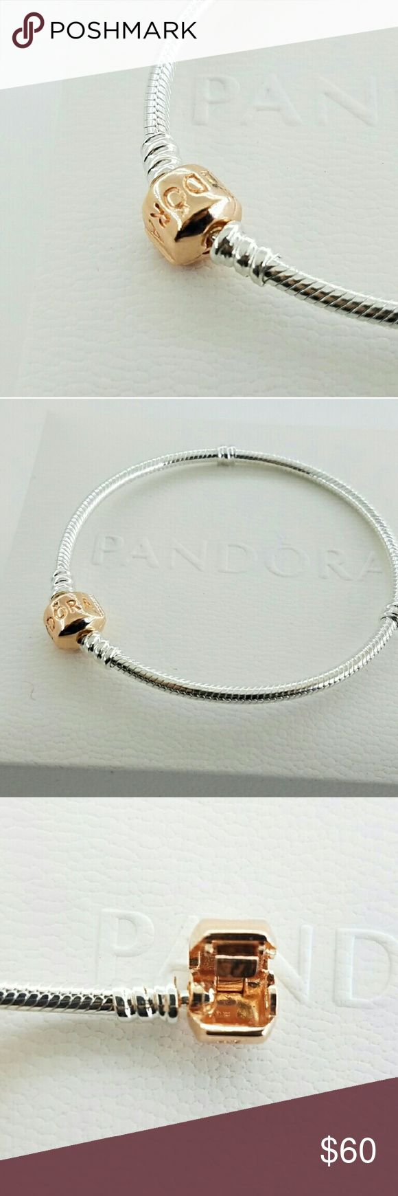 Authentic Pandora Rose Gold Clasp Bracelet 19-7.5 New! Authentic Pandora Rose Moments Silver Bracelet with Pandora Rose Clasp 580702-19 - 7.5 inch - Free Box   Part of Rose gold collection  New and never used  % 100 authentic  R/ale hallmark stamps on it Official Pandora black velvet box with purchase   If you interested in another item on my list please ask me, I do combine   Enjoy shopping Jewelry Bracelets