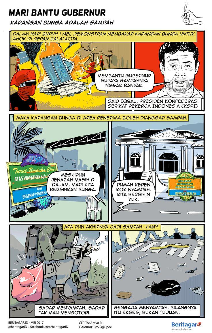BUNGA | Nasib karangan bunga untuk Ahok di depan Balai Kota Jakarta. Akhirnya dibakar oleh demonstran Hari Buruh (1/5/2017). Apakah makna karangan bunga sebagai sampah berlaku di segala tempat, kesempatan, dan cuaca -- apa pun kondisi si bunga?