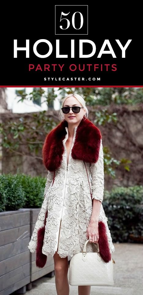 50 stylish holiday outfit ideas - love this white lace + burgundy fur combo!