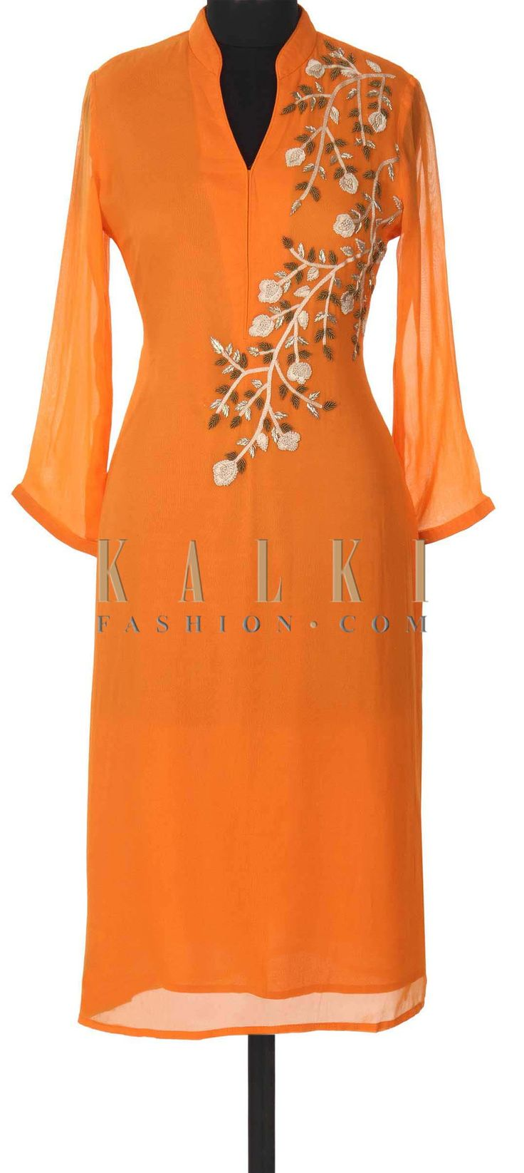 Buy this Orange kurti adorn in zardosi and french knot embroidery only on Kalki