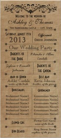 Rustic Typography Wedding Programs Template #wedding