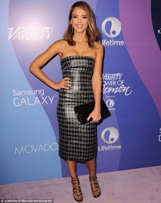 Jessica Alba wearing Jennifer Meyer Gold Diamond Curved Stick Necklace, Jimmy Choo Madison sandals, Christian Dior Fall 2013 dress, Variety 5th annual Power Of Women October 4 2013