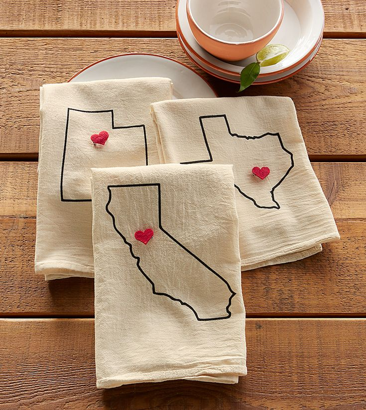 I Love My State Tea Towels - whimsical, cotton towel, printed by hand. Available in all 50 states.