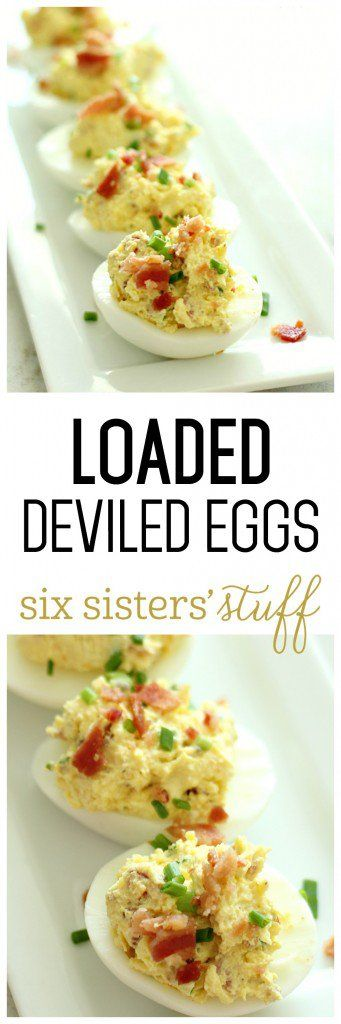 Loaded Deviled Eggs from SixSistersStuff.com   | A delicious twist on a classic recipe - these deviled eggs are loaded with bacon, cheese, and chives!