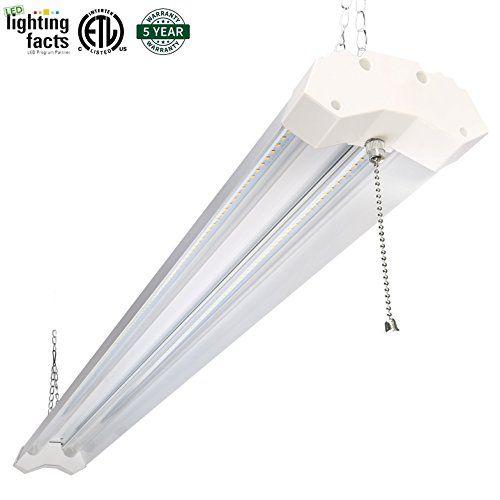 Hykolity Utility LED Shop Light 4ft 40 Watt 4800 Lumen 5000K Daylight White LED Garage Lights ETL Certified Double Integrated Ceiling Lighting Fixture with Pull Cord Switch
