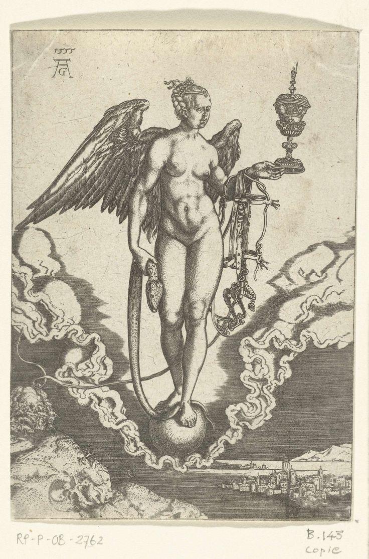 Anonymous | Fortuna, Anonymous, 1555 - 1610 | De godin Fortuna, naakt en gevleugeld, staand op een bol in een wolk. In haar linkerhand houdt zij een slang, in haar rechterhand een rijk versierde beker, om haar arm hangt een paardenhoofdstel. Spiegelbeeldige kopie naar een prent van Aldegrever.