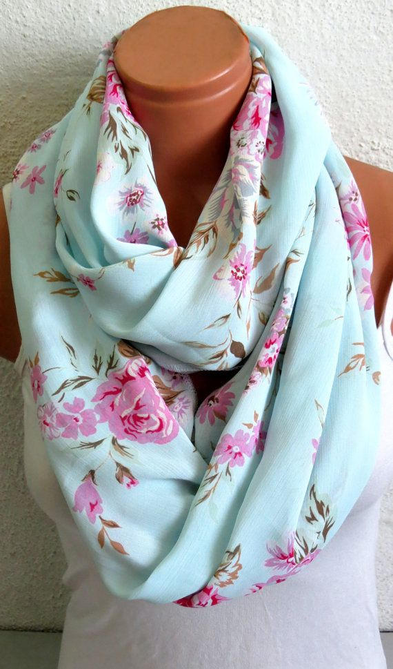 Pale aqua scarf with roses