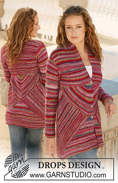 "Ravelry: 111-1 Knitted jacket with domino squares in ""Fabel"" pattern by DROPS design"