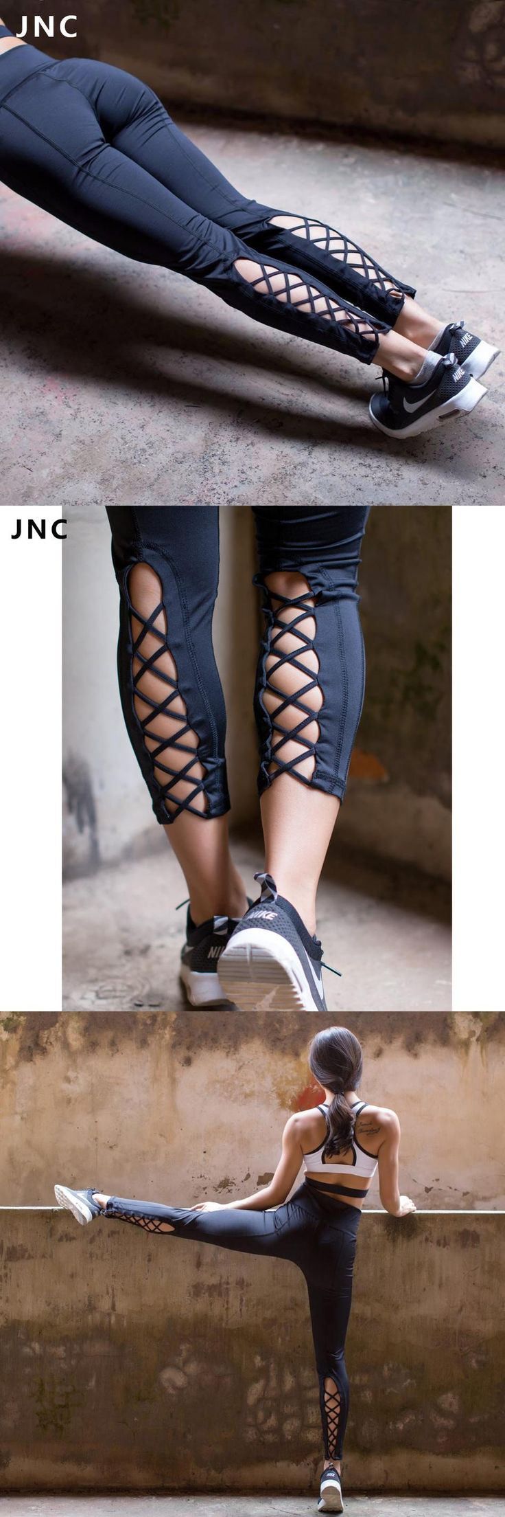 [Visit to Buy] JNC Womens Yoga Pants Active Running Workout Fitness Leggings Dance Pants Cutout Tie Cuff Slim Jogger Workout Tights #Advertisement