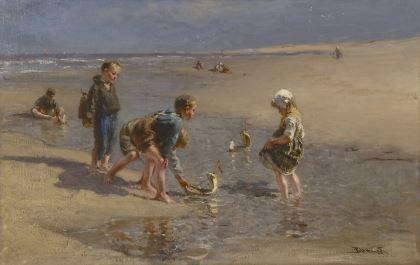 Bernardus Johannes Blommers (Den Haag 1845-1914) Scheepje zeilen, olie op doek 67 x 103,3 cm., gesigneerd r.o. Collectie Simonis & Buunk, Ede