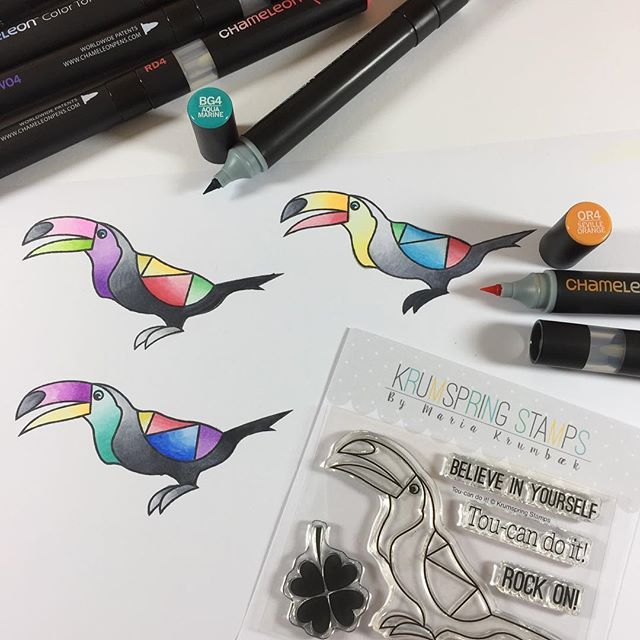 Love how @teenaleee  has coloured in her stamp set by @krumspring_ with her new Chameleon Pens.  #krumspringstamps #toucan #chameleonpens #firstattempt #coloring #fun #imalwayscurioustotryoutnewthings #mynameistooltina