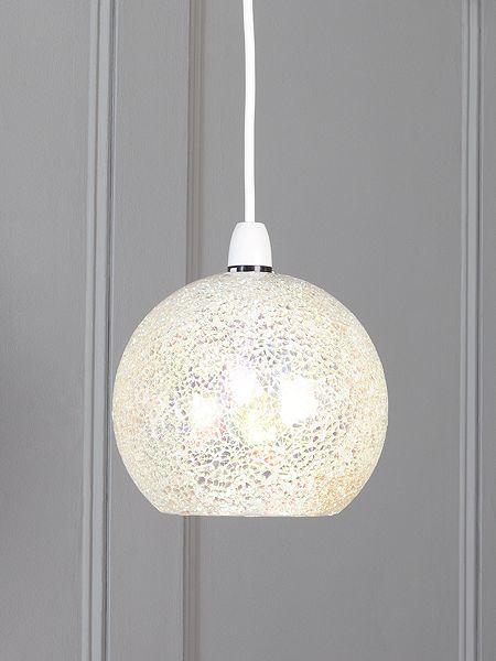 Zara irridescent crackle glass dome pendant