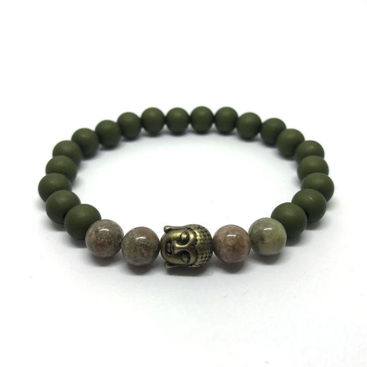 Bracelet armygreen beads with gemstone and buddha