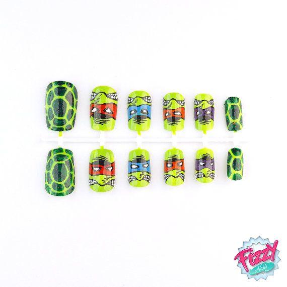 TMNT - Capsules Faux Ongles peints a la main Nail Art Fizzynails