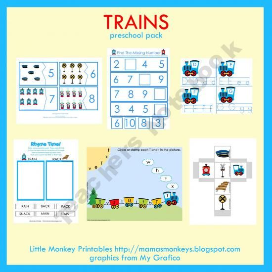 Train theme preschool pack --- free; I already downloaded it