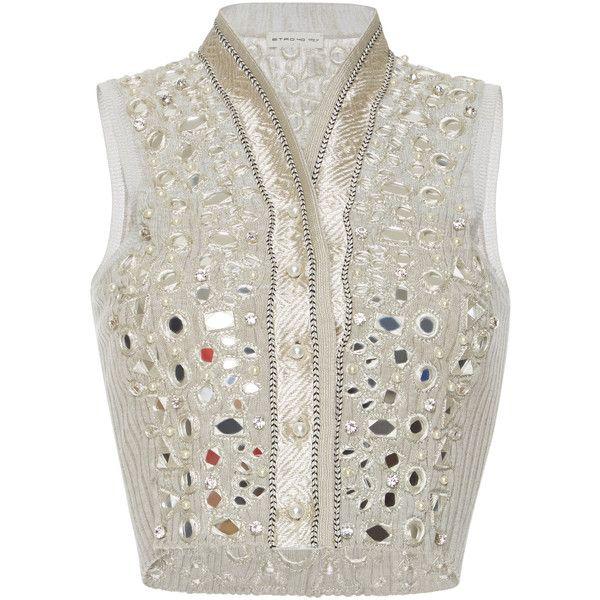 Etro Embellished Vest (299,965 INR) ❤ liked on Polyvore featuring outerwear, vests, neutral, vest waistcoat, white vest, embellished vest, white waistcoat and crop vest