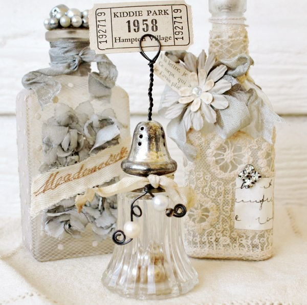 salt shaker picture holder & altered bottles