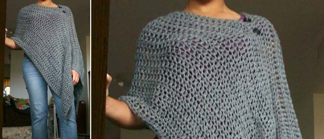 Easy crocheted poncho pattern, will make this this winter