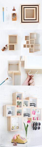 Diy: Una estantería con cajas de madera | Decorar tu casa es facilisimo.com