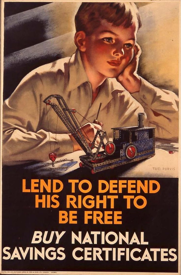 """""""Lend to Defend His Right to Be Free"""" ~ WWII National Savings Certificate poster illustrated by Tom Purvis."""
