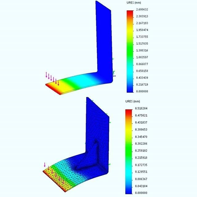 The stiffness difference shown in deflection of a simple L shaped bracket utilising a gusset feature. Often quite expensive but very effective in adding in stiffness to sheet metal components   #stiffness #bending #deflection #bracket #solidworks #catua #dassaultsystemes #fea #cae #computeraideddesign #finiteelementanalysis #analysis #mech #mechanics #mechanicalengineering #structuralengineering #engineering_memes #engineeringlovers #engineeringlife #engineeringblog #engineer #engineering…